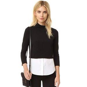 Theory Gracila Fix Ponte Black Sweater Shirt Top